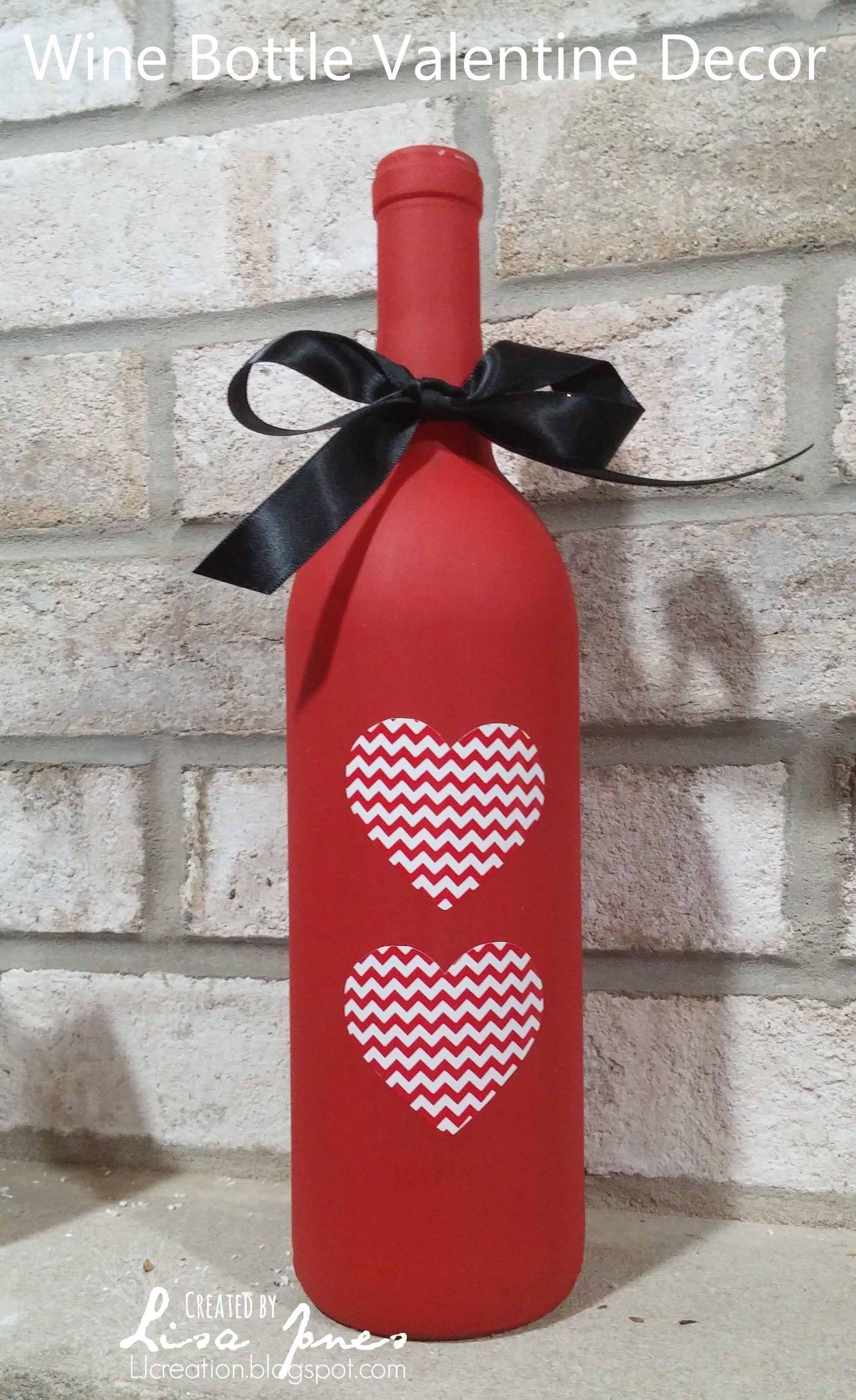 Wine Bottle Valentine Decor Valentines Crafts Wine Bottle Crafts Bottle Crafts Valentine Decorations