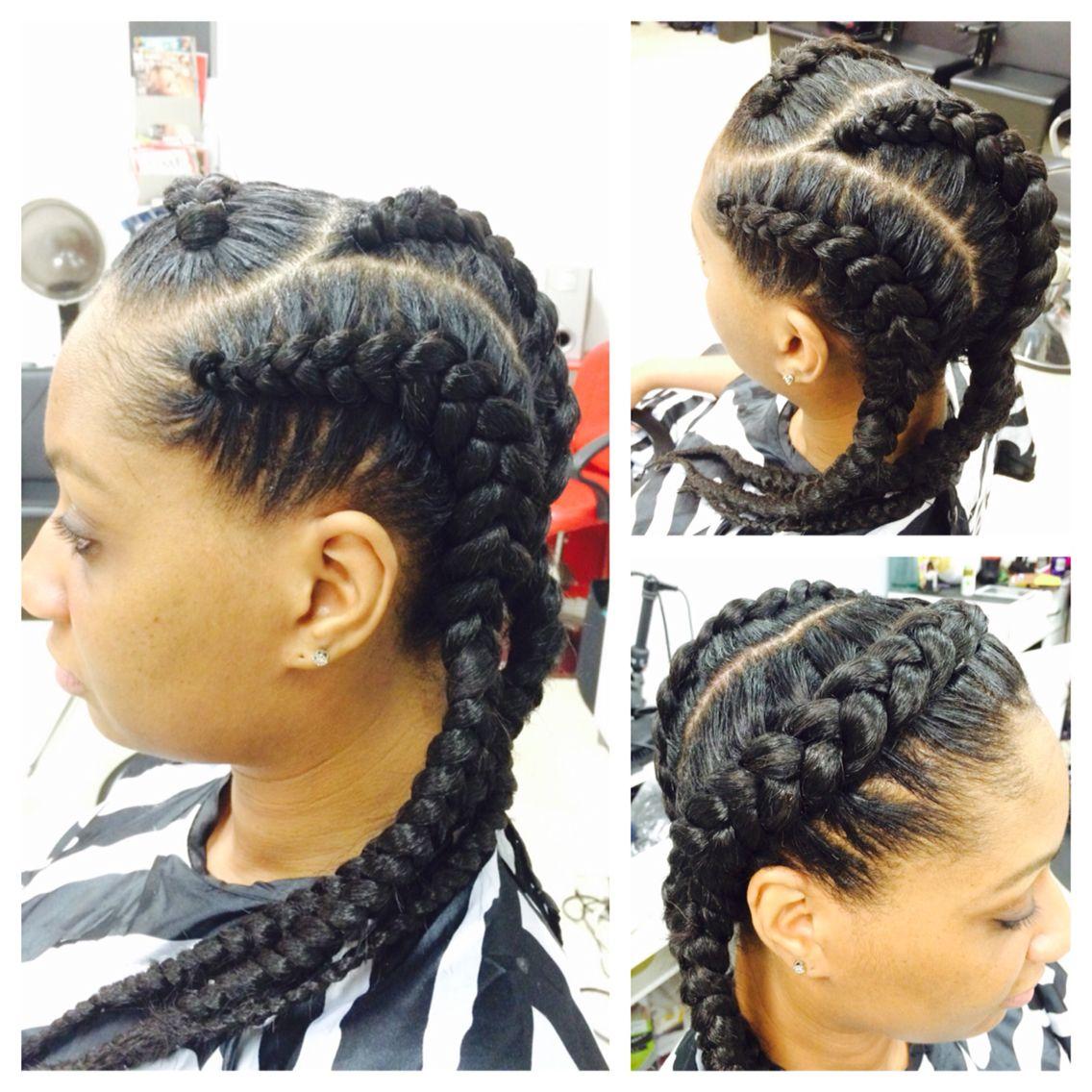 Jumbo cornrows natural hairstyle big braids | My Work ...