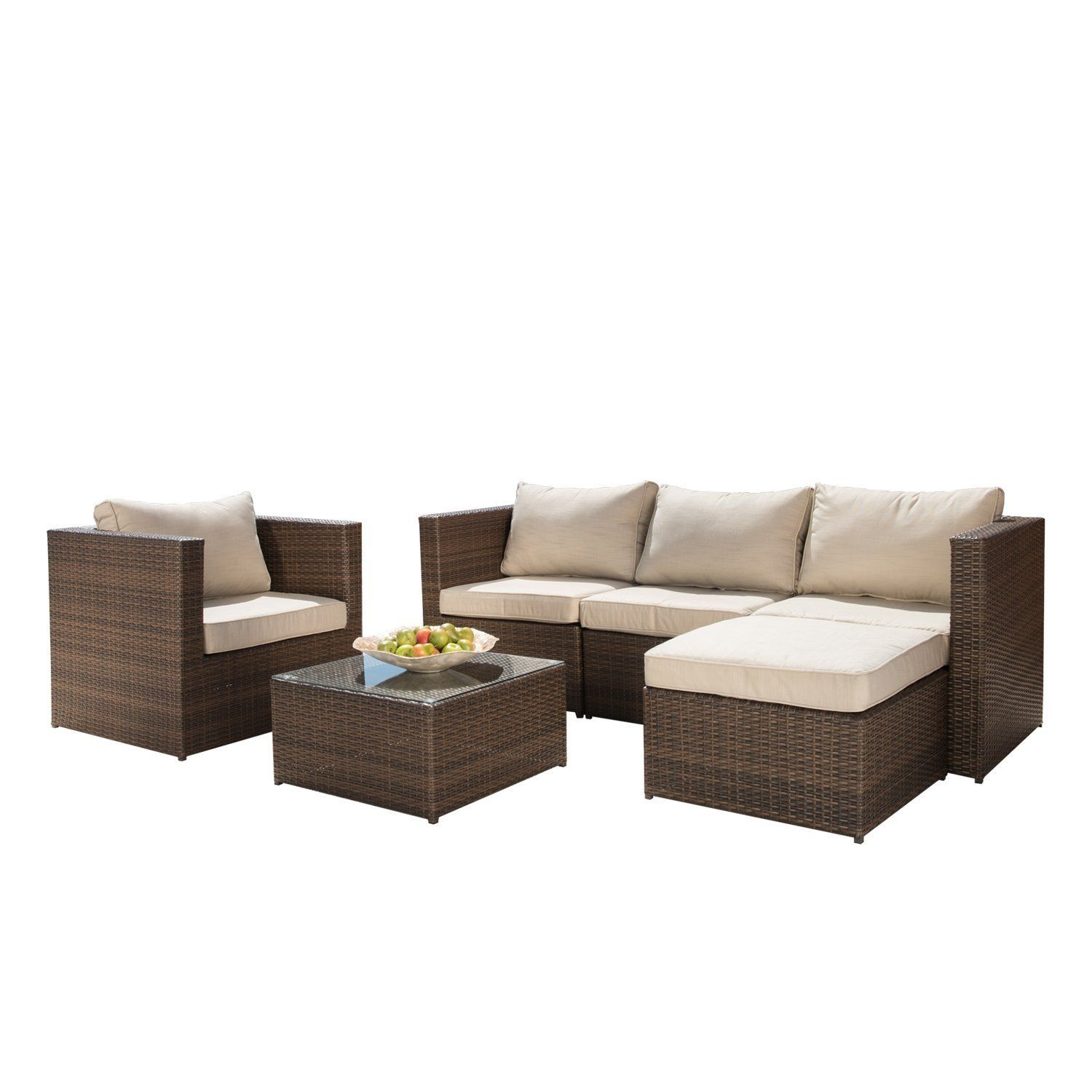 6pc Patio Sectional Sofa Set No Assembly Required Ottoman Allweather Brown By Supernova See Patio Sofa Set Sectional Furniture Sectional Patio Furniture