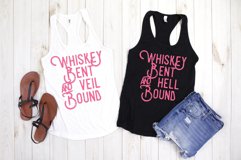 Whiskey Bent And Veil Bound Tank Bachelorette Shirt Country Bachelorette Party Shirts Bridal Party Family Shirts Matching Family Shirts Girls Trip Shirts