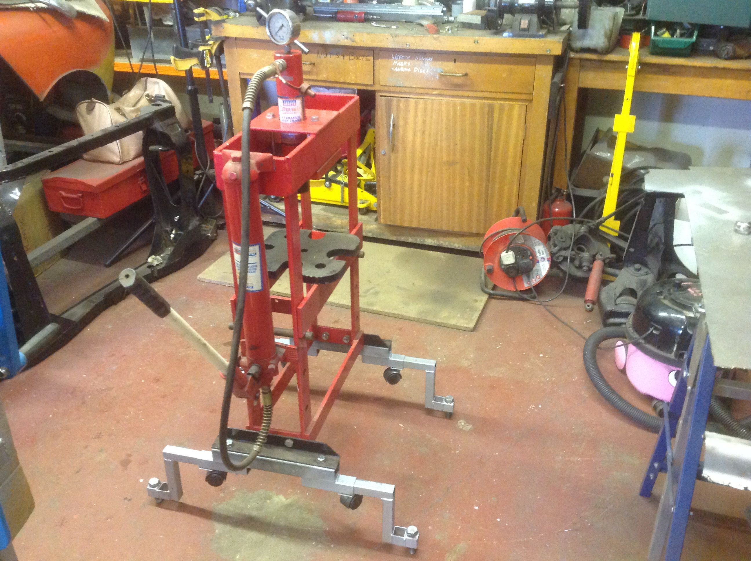 Making 10Ton press more manageable with a set of wheels
