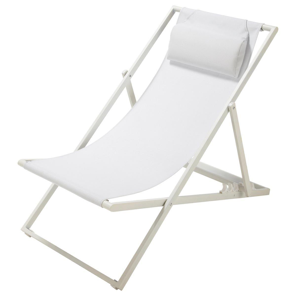 Tumbona/silla De Playa Plegable De Metal Blanca L. 104 Cm Split