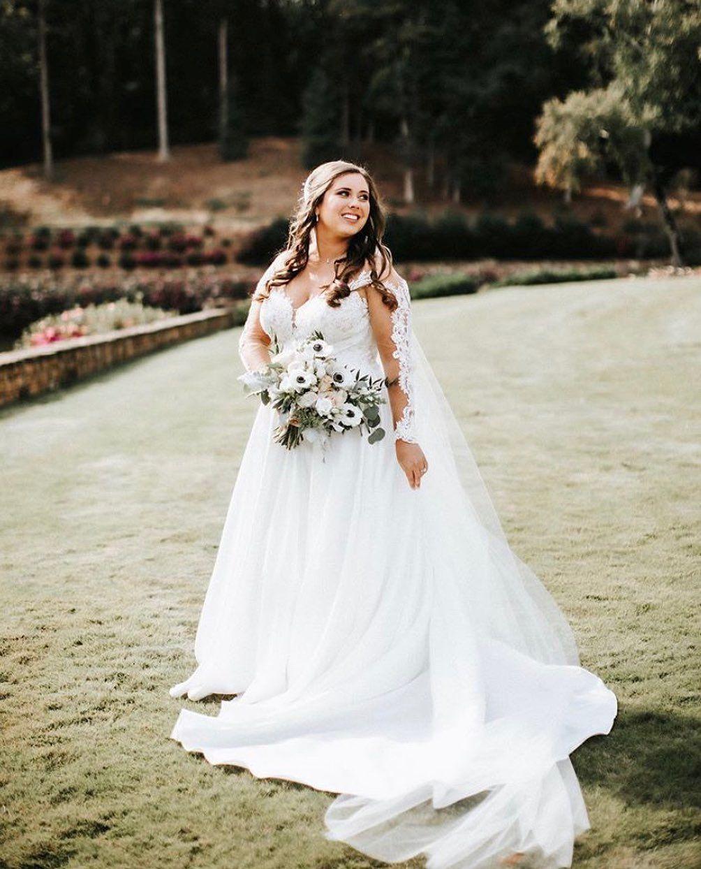 Gorgeous Romantic Long Sleeved Wedding Dress With Embroidery In 2020 Wedding Dress Long Sleeve Wedding Dresses Sleeved Wedding