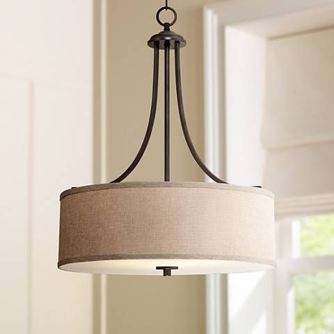 La pointe 19 12 wide oatmeal linen shade pendant light style give your home an updated aesthetic with this understated transitional pendant light aloadofball Image collections