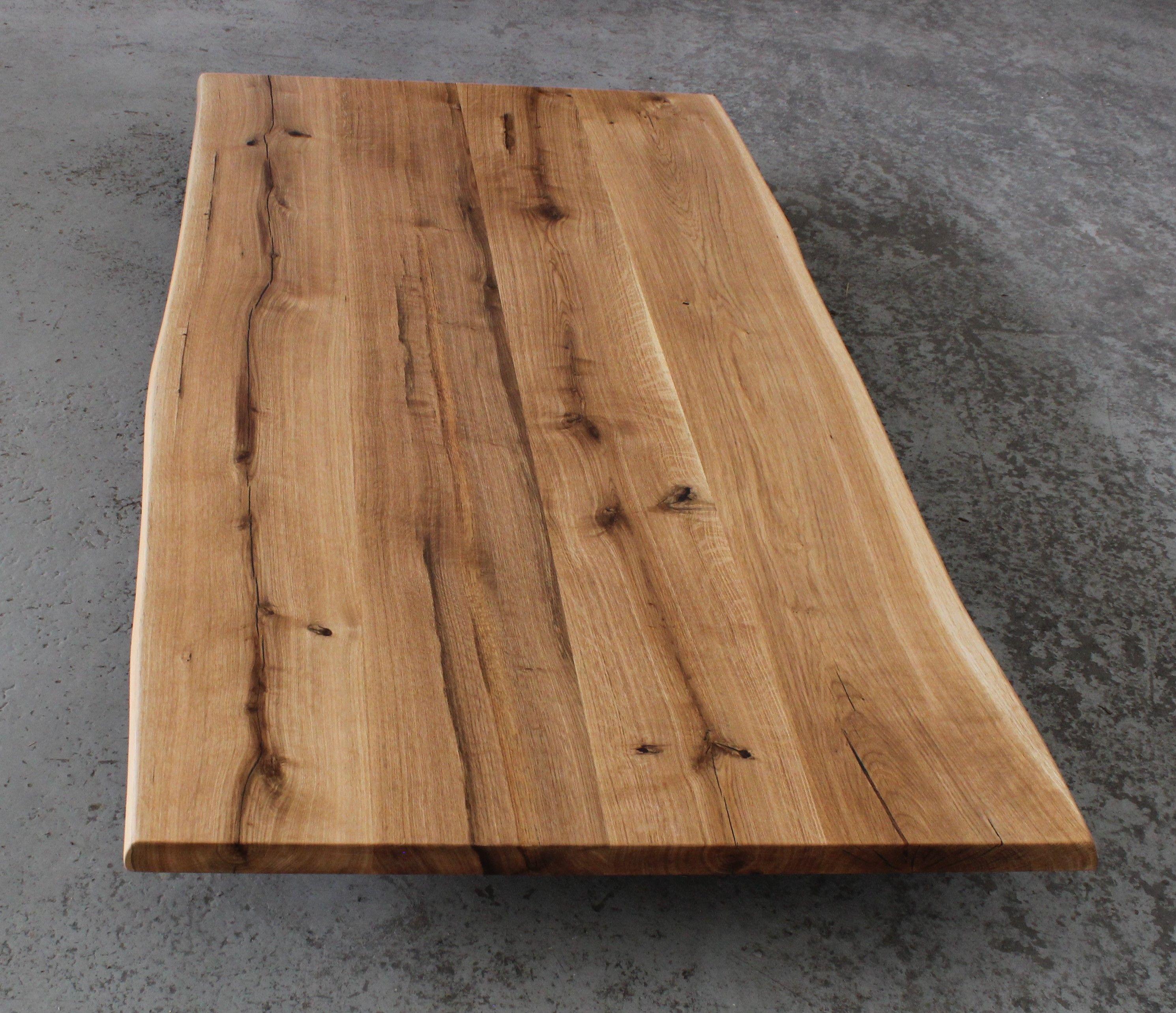 Tischplatte Eiche Massiv Rustikal Geolt Mit Baumkante