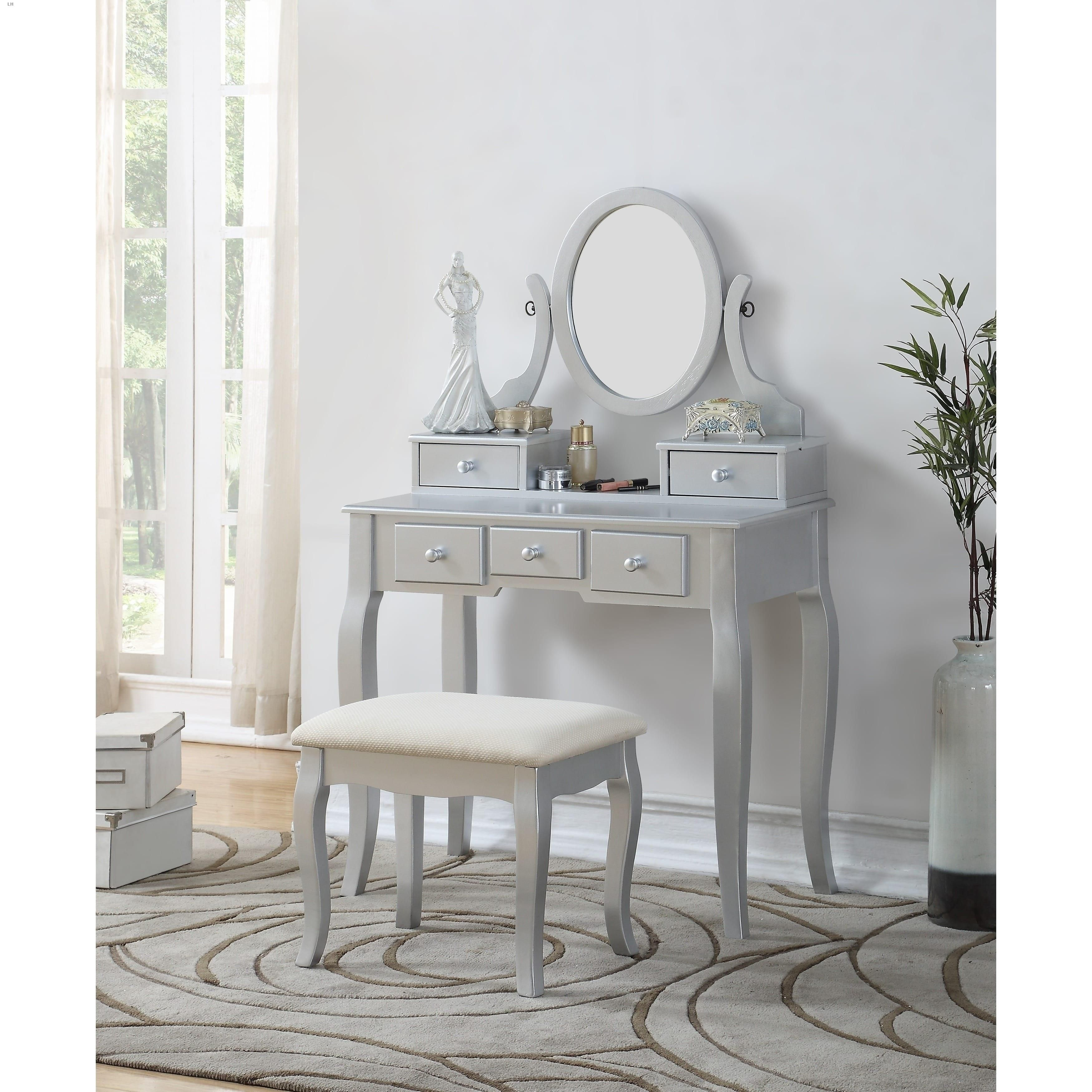 Roundhill Ashley Wood Makeup Vanity Table and Stool Set