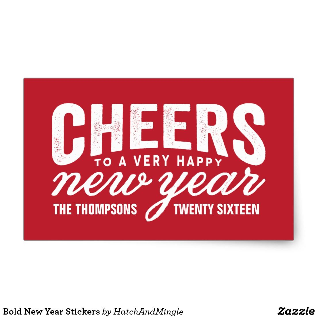 bold new year stickers add new years cheer to envelopes and gifts with these bold and typographic stickers affiliate ad link invitations greetings and