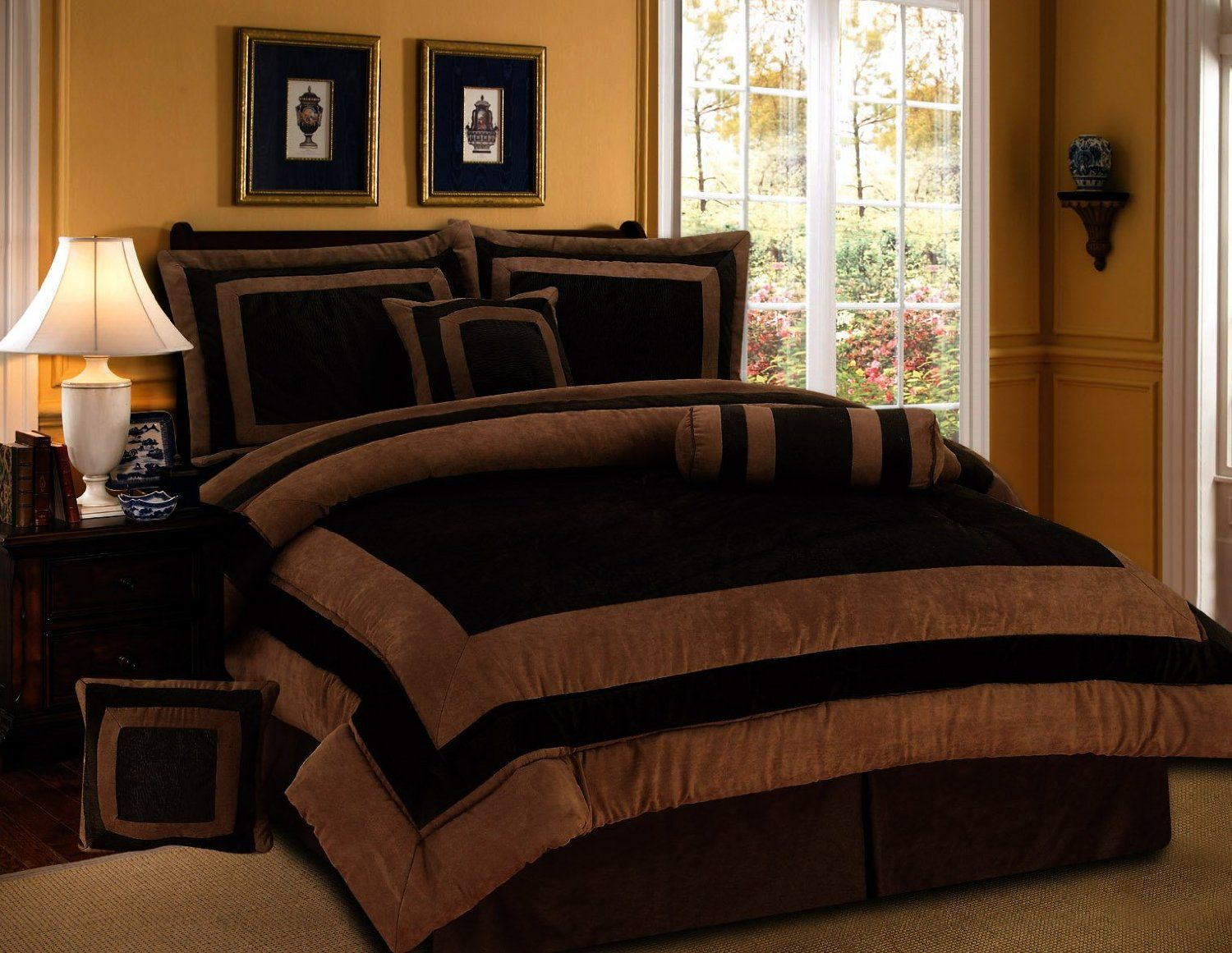 Bed sheet patterns men - 7 Pieces Chocolate Brown Suede Short Fur Comforter Set Queen Bedding Set Bed In