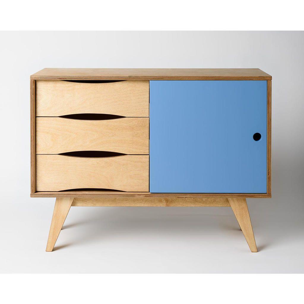 kleines sideboard sosixties in holz und blau für einen ... - Wohnzimmer Blau Holz