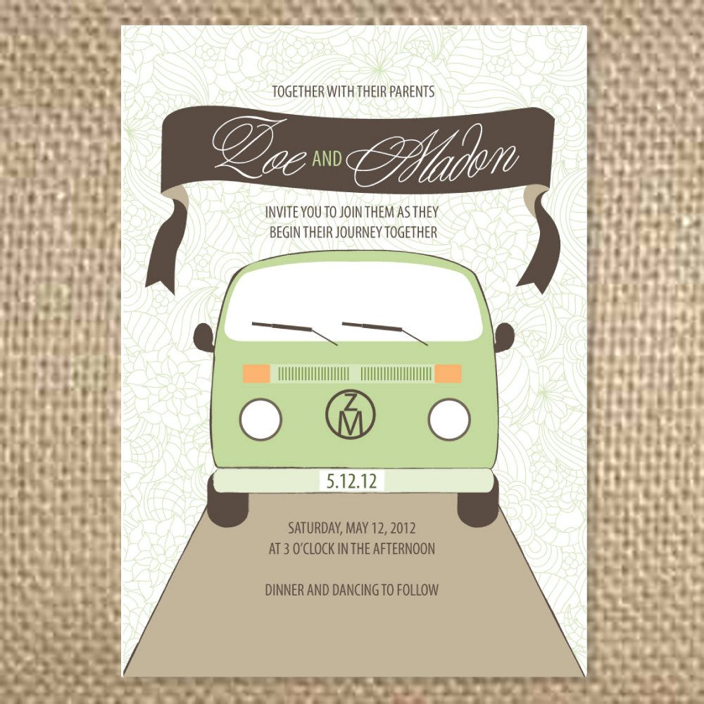 VW Van and Banner Wedding Invitation by uluckygirl on Etsy | Vintage ...