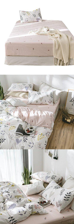 Amwan Flower Print Floral Fitted Sheet Queen Deep Pocket Cotton Bed Sheet Pink Kids Girls Bedding Sheet Lightweight Summer Bed Fitted Sheet Wrinkle Free Hypoall Girls Bedding Sheets Cotton Bedding Girl