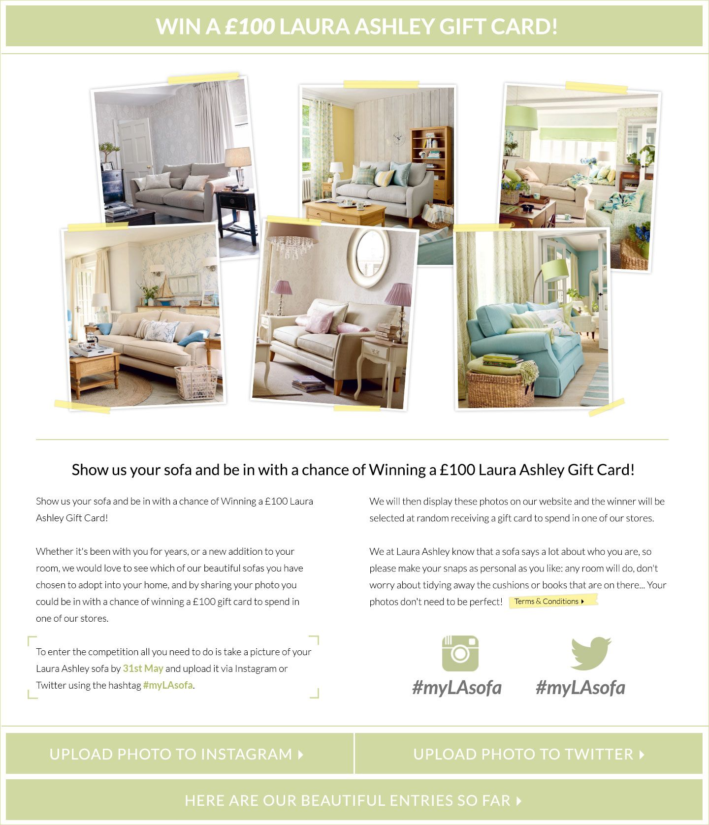 Sofa Compeion At Laura Ashley Imply Upload A Photo Of Your Using The