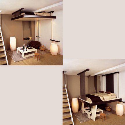 Un lit mobile pour petit appartement à faible hauteur sous plafond