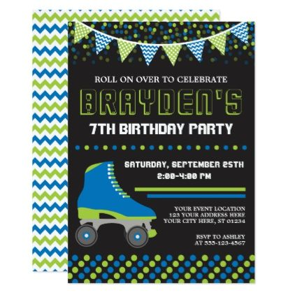 Roller Skating Invitation  Roller Skate Birthday  Invitations