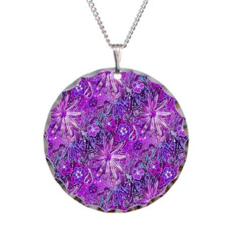 Radiant Orchid Daisy Doodle Necklace Circle Charm