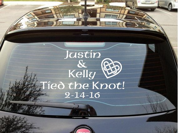 Just married decal tied the knot car custom wedding decoration wedding car decal irish personalized celtic just married your names