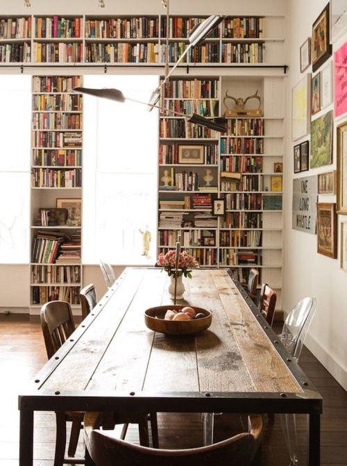dustjacketattic:  dining, library  Brooklyn Loft