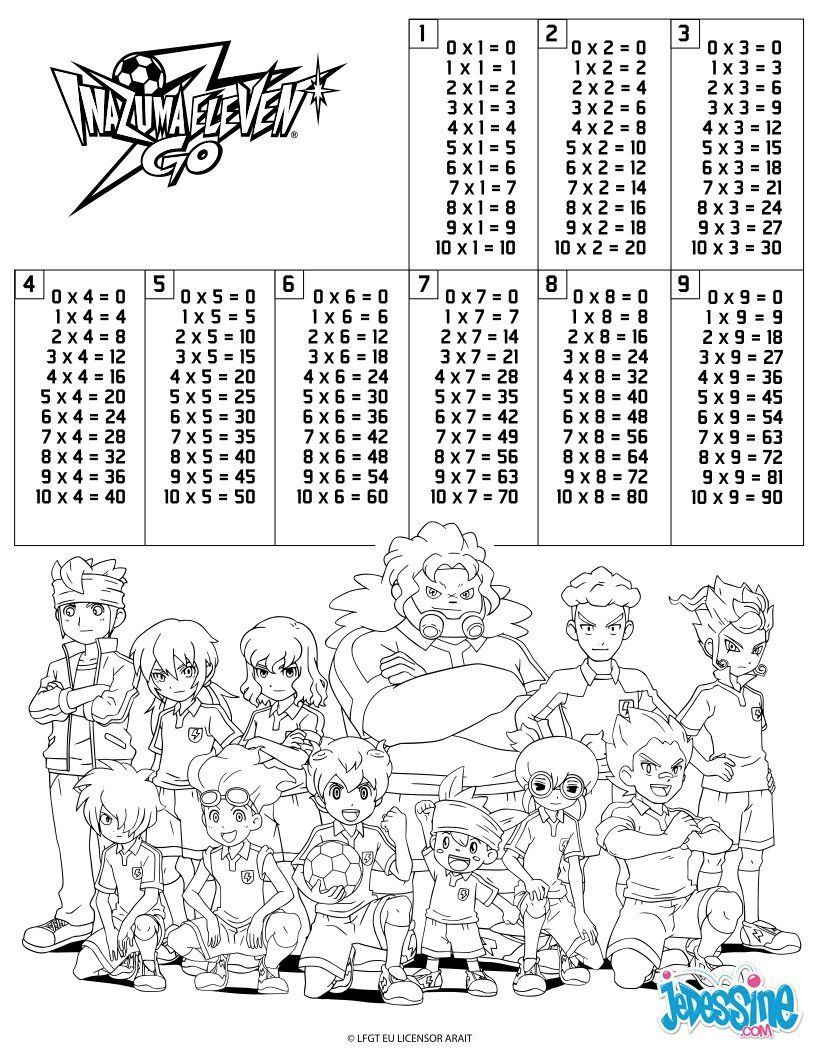 School Coloring Pages Multiplication Table Inazuma Eleven Coloring Pages School Coloring Pages Multiplication