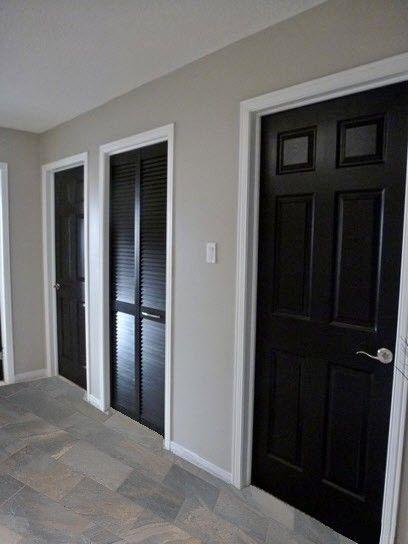 Grey Walls White Trim Black Doors Daltile Ayers Rock Majestic Mound Tile Home Improvement