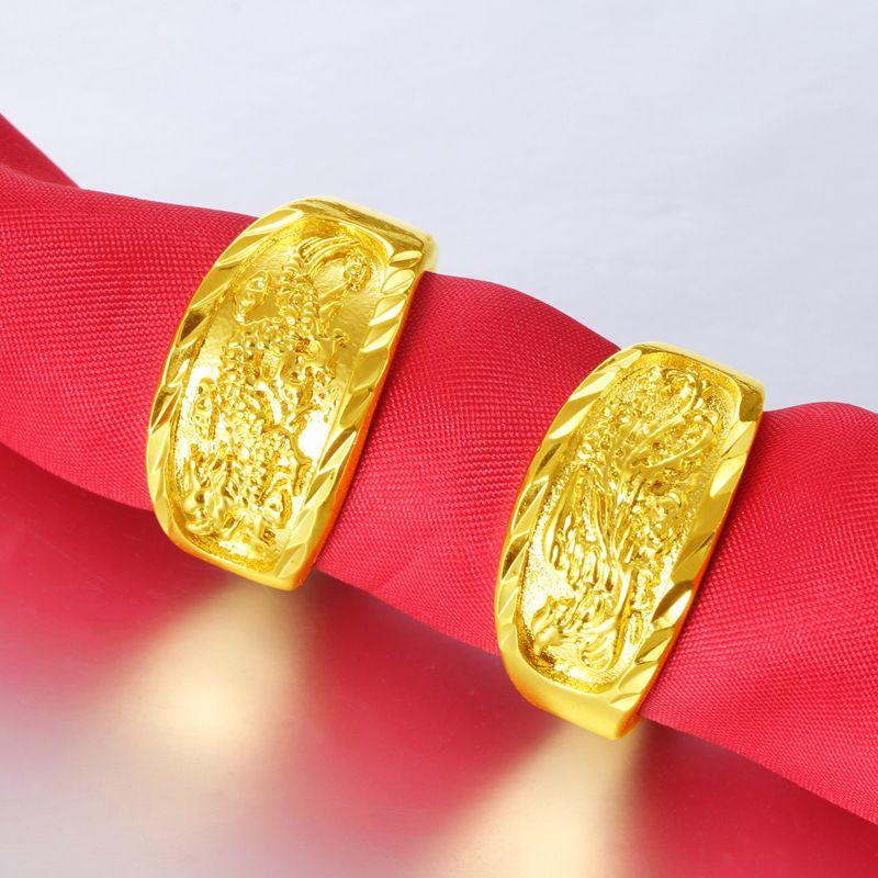 Vietnam Alluvial Gold Latest Dragon Phoenix Gold Adjustable Finger Ring Designs For Men Jewelry Ring Designs Mens Ring Designs Men S Jewelry Rings