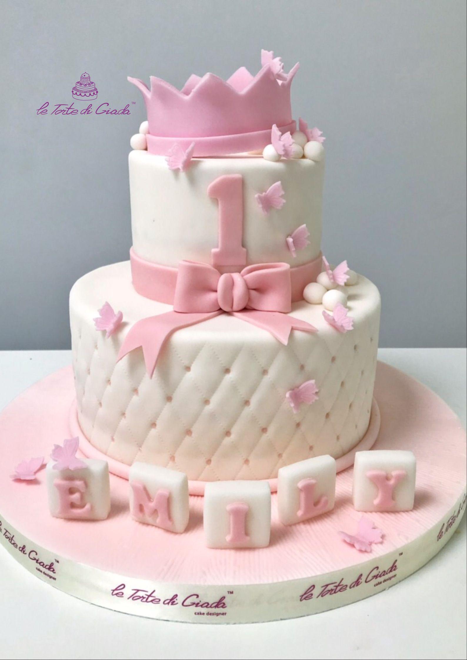 Torta Effetto Trapunta Tutorial.Per Il Primo Compleanno Una Torta Con Coroncina Farfalle E