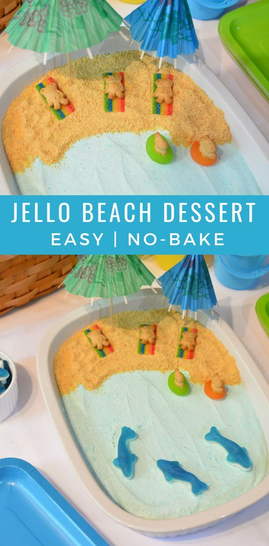 Jello Beach Dessert  #beach #dessert #jello #sharkweekfood