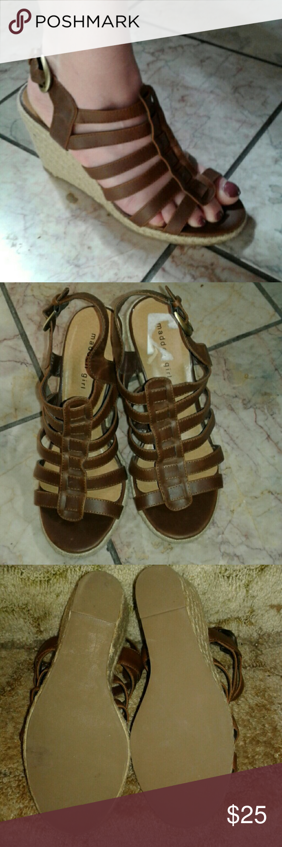 Madden Girl Wedges Excellent condition, wore once, Madden girl size 9 brown wedges.final price Madden Girl Shoes Wedges