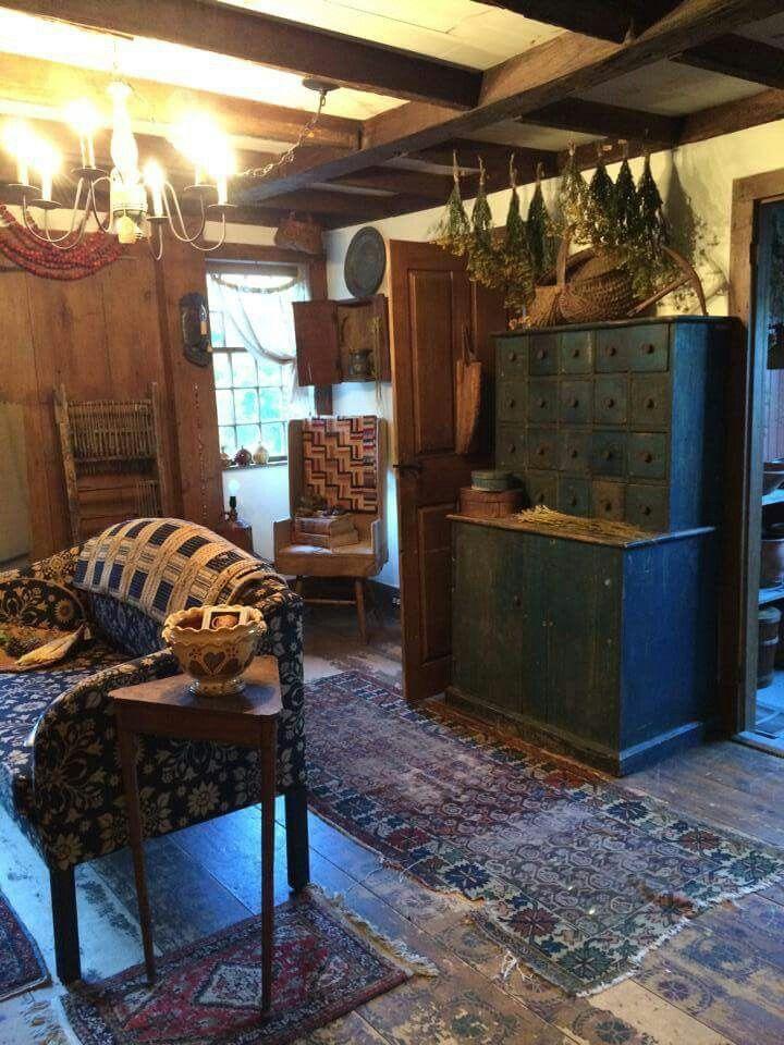 Primitive Country Living Room Decorating Ideas: Cottage Charm ~ Blue Prim / Primitive