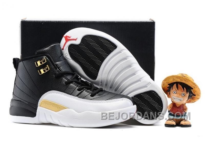 Cheap Jordan 12 White Black Gold For Kids