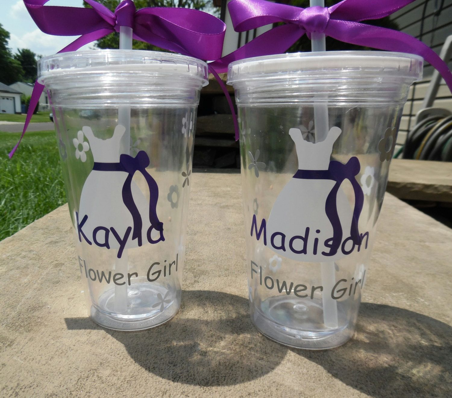Two Flower Girl Tumblers, Bridal Party Tumbler. Flower Girl Cup. Flower Girl Gift, Jr Bridesmaid Cup, Flower Girl Tumbler  by SiplySophisticated on Etsy