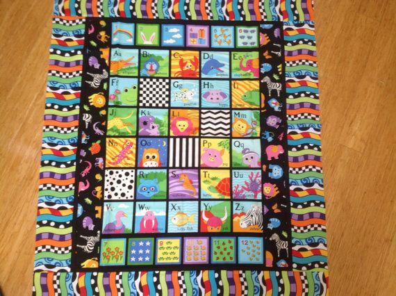 Bright Alphabet 123 cot quilt floor rug play mat child toddler ... : baby floor quilt - Adamdwight.com
