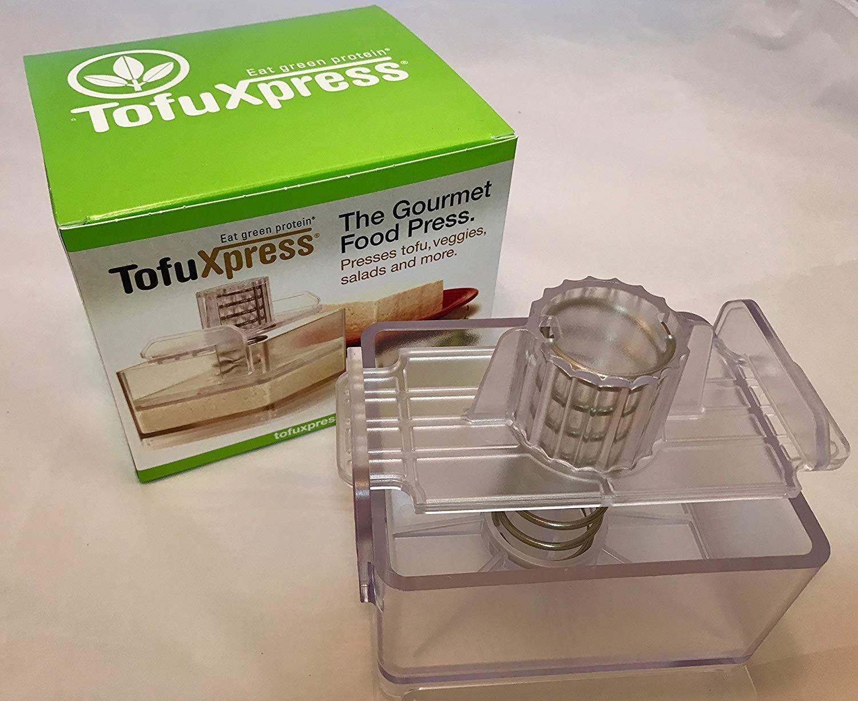 Gourmet tofu pressmarinating dish clear
