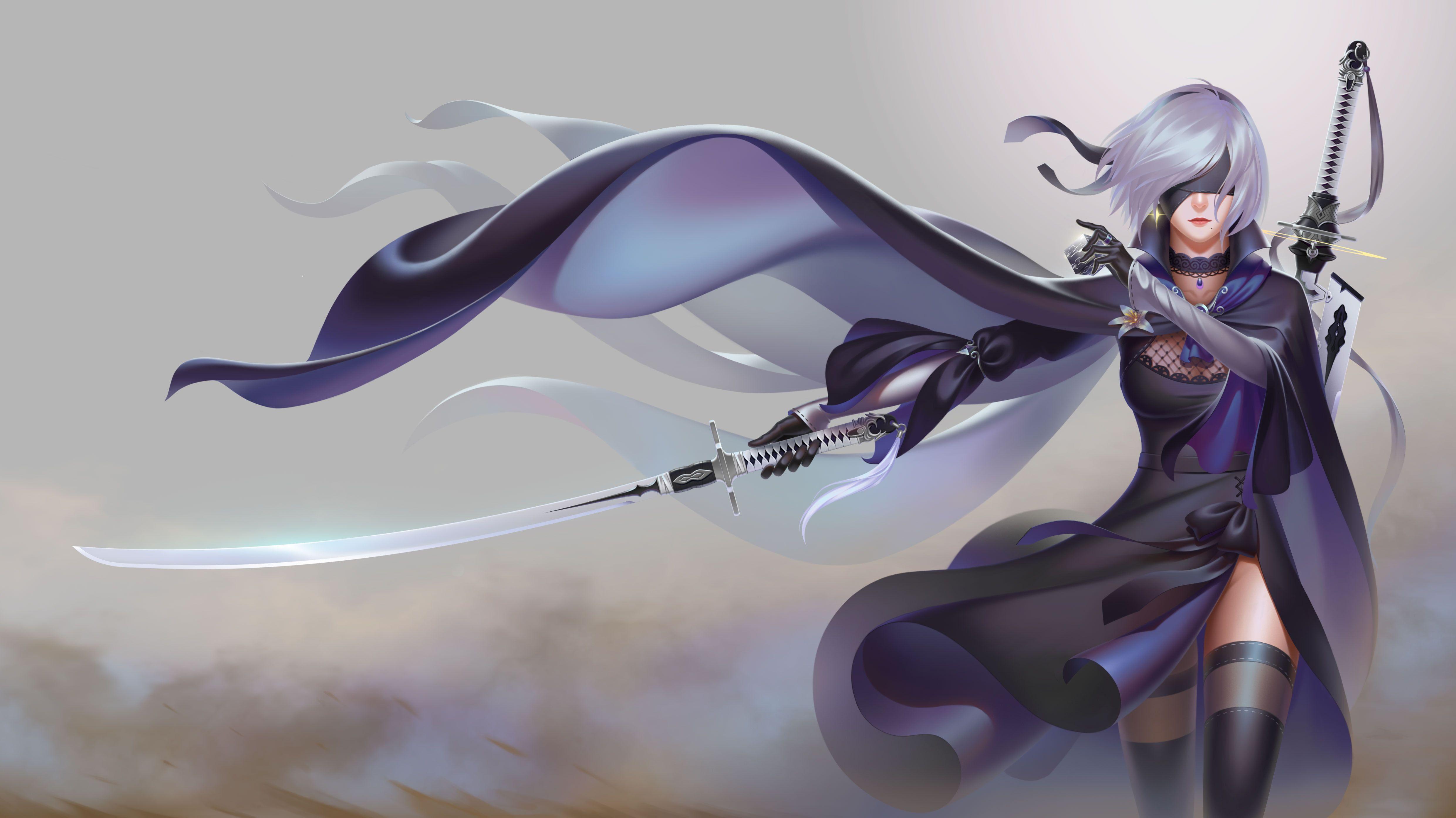 Female Anime Character Holding Sword Wallpaper Video Games Nier
