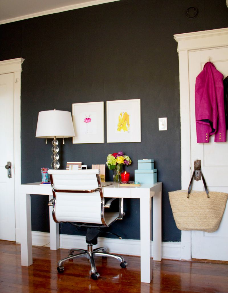 How To Style A West Elm Parsons Desk White Lacquer Black Wall