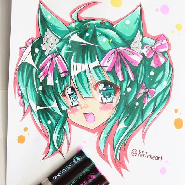 @kiricheart one of their anime/manga chibi  headshot commissions done with the Chameleon Pens.