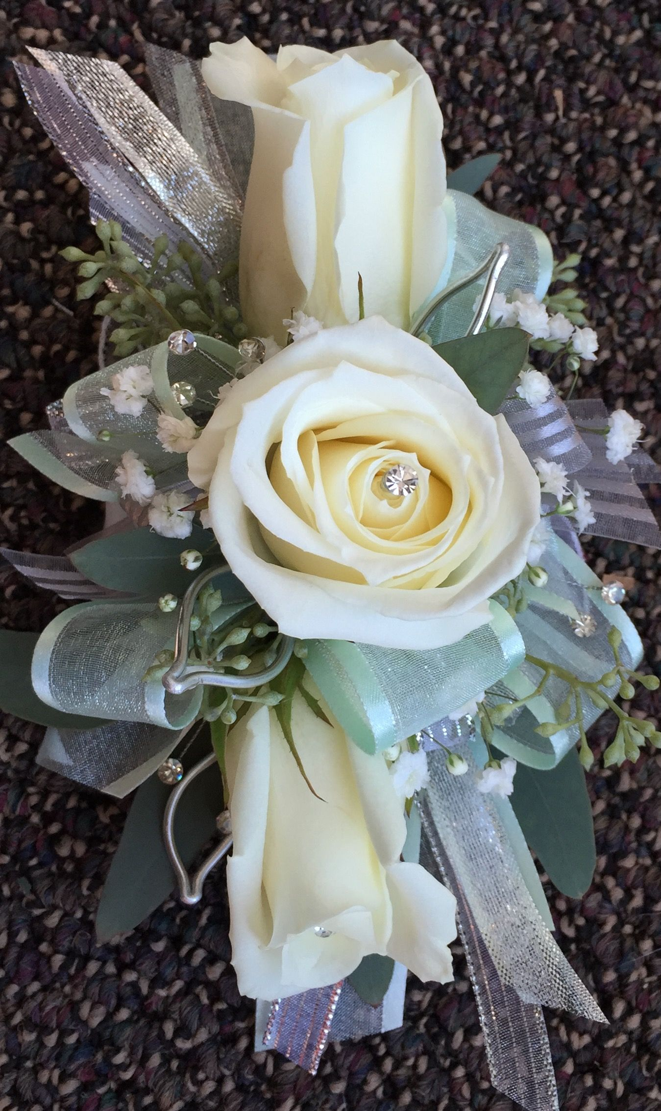 Rose Wrist Corsage With Light Aqua And Silver Accents Diy CorsagesWedding