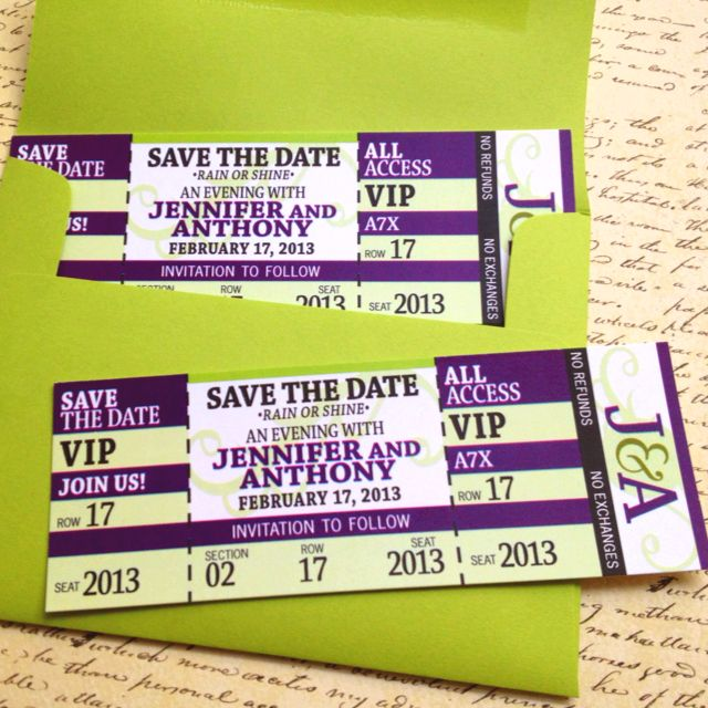 Save The Date Wedding Invitation Concert Ticket