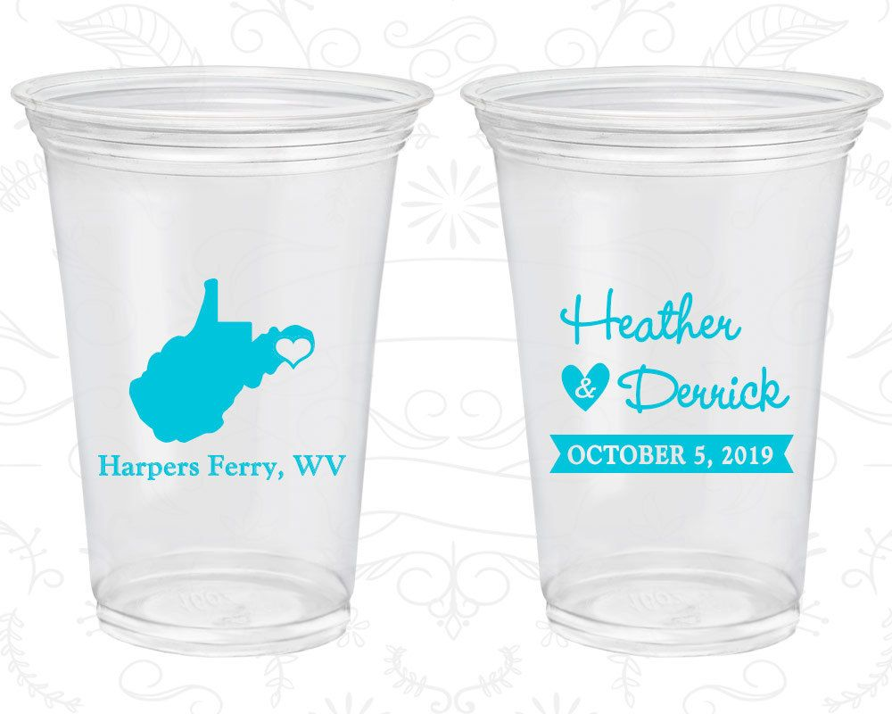 West Virginia Wedding, Promotional Clear Cups, Destination Wedding, State Wedding, Clear Plastic Cups (147)