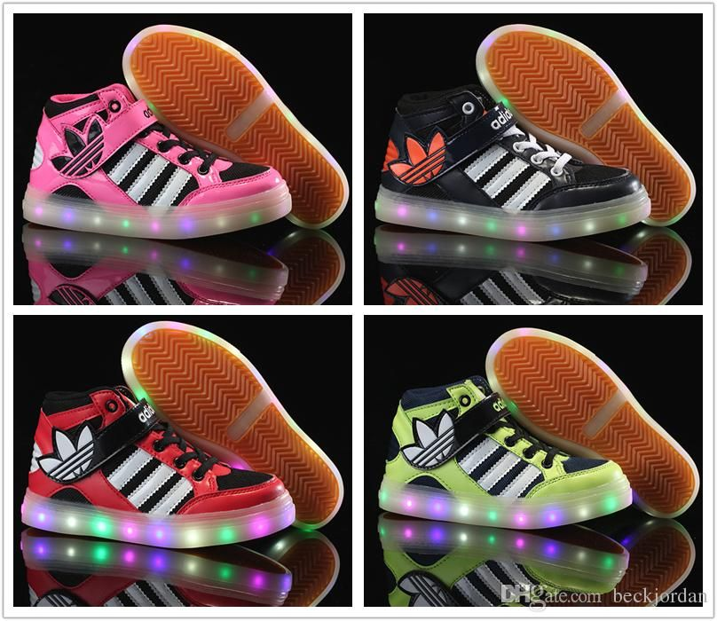 Adidas Children'S Athletic Shoes For Boys Girls Led Light Skate Shoes Kids  Casual Boots Babys Cheap