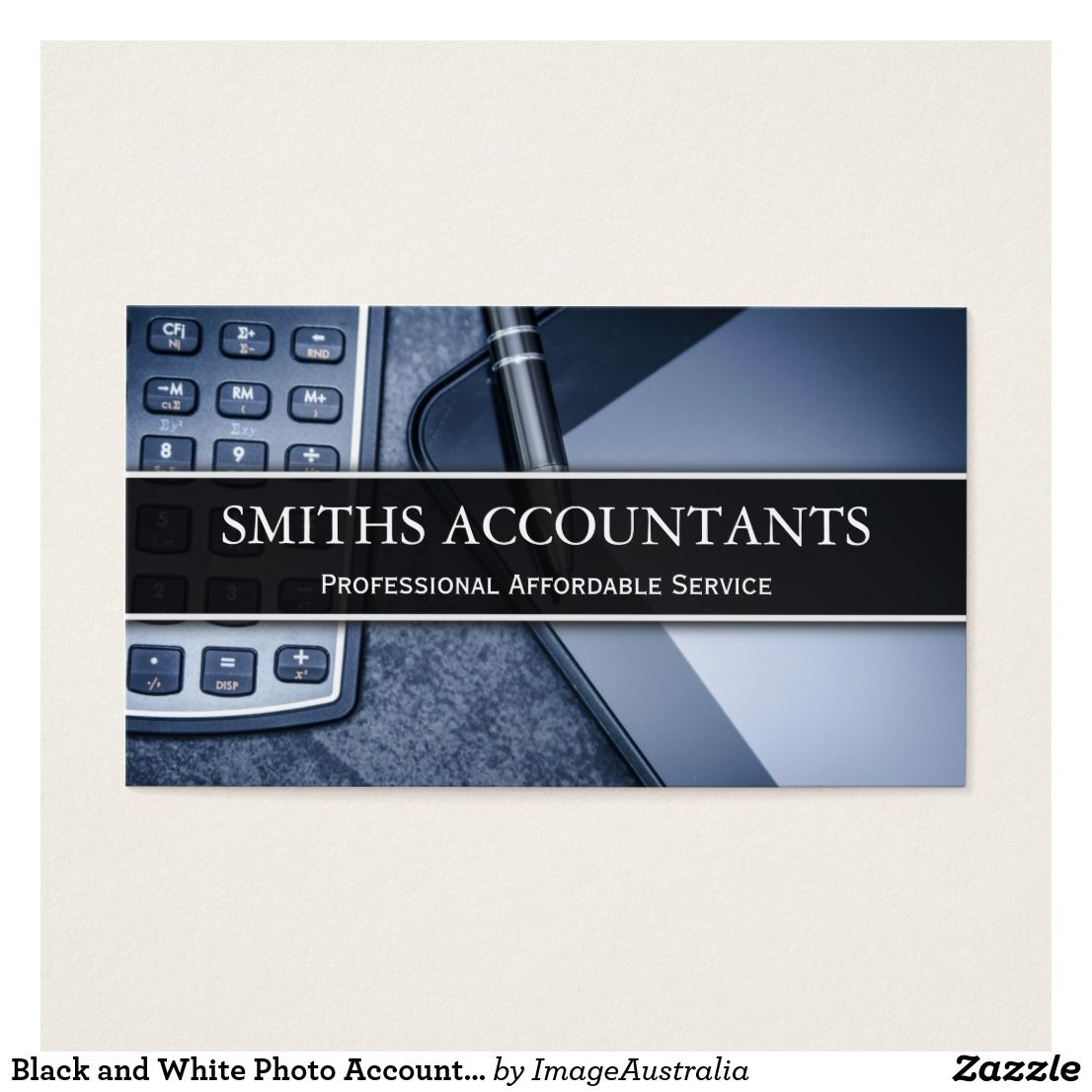 Black and White Photo Accountant - Business Card Custom Check out ...