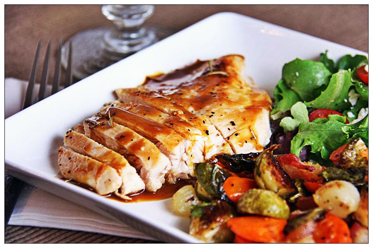 Seared Chicken with Orange Pan Sauce, Roasted Brussels ...