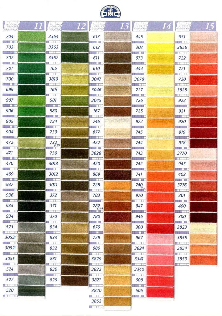 Colori dcm questa tabella serve per piu  tipologie di filati dmc haft pinterest chart cross stitch and colour also rh