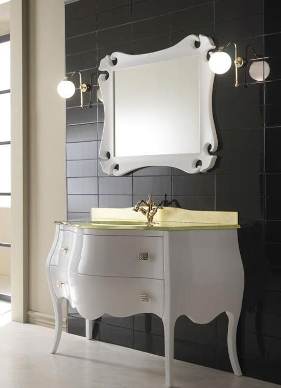 Attirant Glossy White With Golden Countertops Bathroom Vanity Furniture