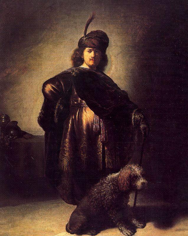 1631 Autorretrato vestido de oriental con perro.