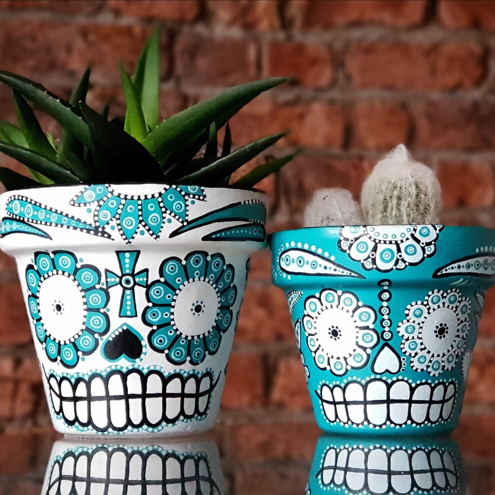 Mexican Day of the Dead Sugar Skull hand painted plant pots. Turquoise and white. Set of two #flowerpot