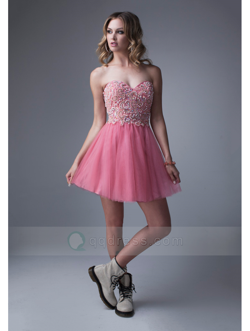 Buy Short Mini Sweetheart Party Cocktail Dress with Beaded - QQdress ...
