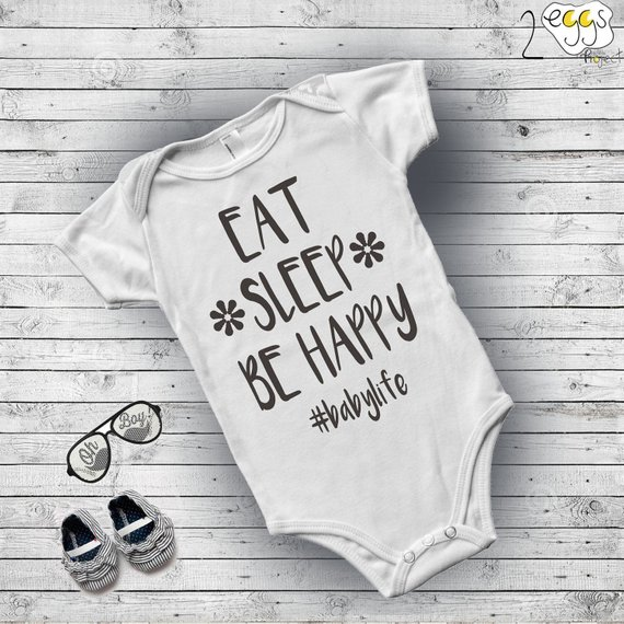"""4b17f6f887de Baby boy outfit – Hippie clothes for baby boy with quote """"Eat"""