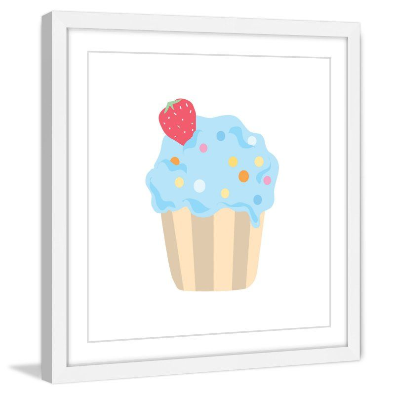 Marmont Hill Blue Cupcake Framed Wall Art - MH-DIAALC-79-WFP-40