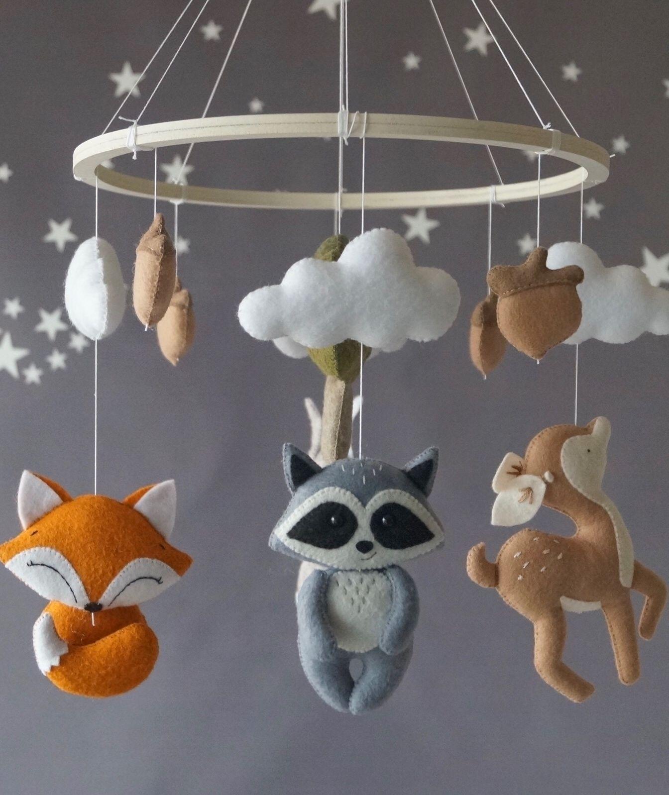 natural wood finish art craft Babies room DIY hanging mobile kit 8 arms