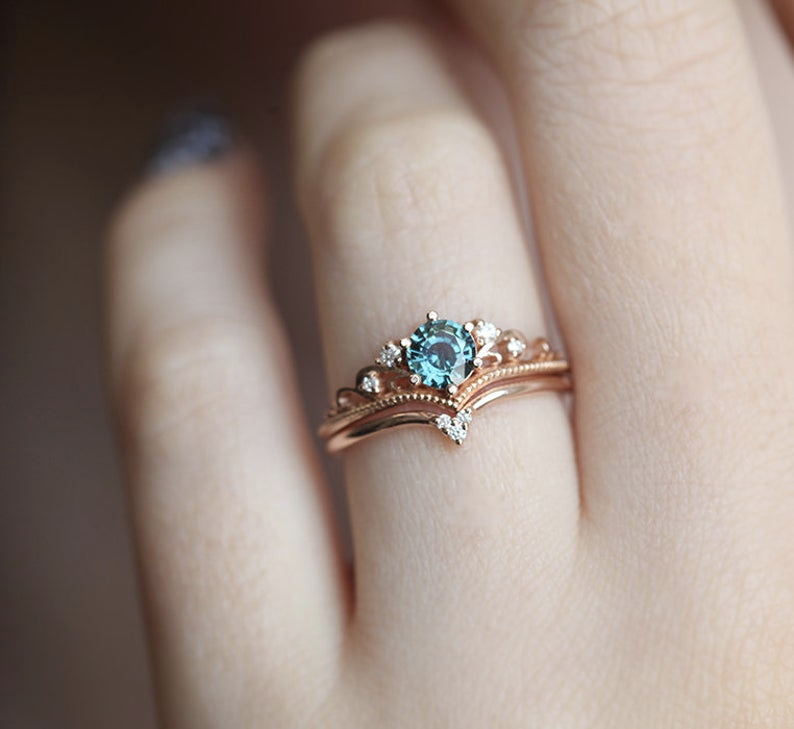Teal Sapphire Engagement Ring, Round Sapphire Ring